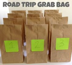 Road Trip Grab Bags for Traveling with Kids -- fantastic way to make those long hours in the car more manageable for younger kids! Traveling with Kids, Traveling tips, Traveling #Travel