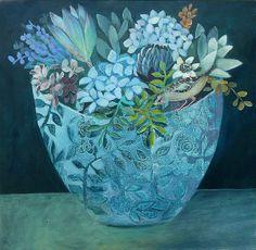 Blue - azul - painting - art - cate edwards art - Bird On Blue Bowl Art Floral, Art And Illustration, Graffiti Artwork, Blue Bowl, Arte Popular, Beautiful Birds, Oeuvre D'art, Painting & Drawing, Blue Painting