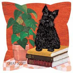 """Bring a touch of whimsy to your sofa or settee with this eco-friendly pillow, showcasing a dog motif.   Product: PillowConstruction Material: Polyester and organic cottonColor: Orange, black and greenFeatures:  Artwork by Charlotte Holder Bright contemporary colors Polyester is constructed from recycled water bottles  Made in USA  Dimensions: 18"""" x 18""""Note: Insert includedCleaning and Care: Spot clean"""