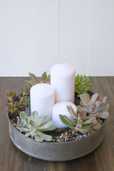 succulents & candle centerpiece using old tube pan