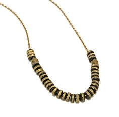 """HERA Necklace is made from oxidized and etched brass handmade beads and strung on a 26"""" plated chain or 26"""" black leather cord"""