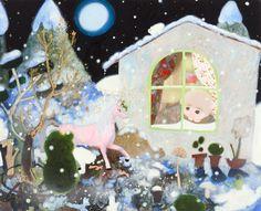 メッセージが届いたよ You've got a message, 2010  oil,acrylic,spray,glitter on canvas  65.5 x 80.5 cm  ©Tomoko Nagai