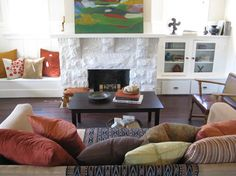 Houzz  painted fireplace  ... not pinning for the fireplace (not my taste)  ... but for the colours.