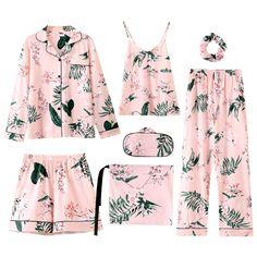 7 Pcs/set Pajamas For Women Cotton Pajamas Sets Floral Pijamas Mujer Pijama Feminino Sleepwear Pyjama Femme Leisure Home Cloth Cute Sleepwear, Sleepwear Women, Satin Pyjama Set, Pajama Set, Pajama Outfits, Cute Outfits, Casual Outfits, Nighty Online Shopping, Pijamas Women