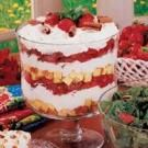 Strawberry Cheesecake Trifle--Making this with one can strawberry pie filling and one can blueberry pie filling and layer the colors so that it is red, white, and blue