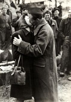 Couple kissing at end of World War II - 42-34329999 - Rights Managed - Stock Photo - Corbis. The Arrival of a French released prisoner. In 1945.
