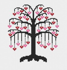 Tree of Hearts Cross-Stitch Pattern Cross Stitch PDF Cross Stitch Designs, Cross Stitch Patterns, Crochet Patterns, Easy Patterns, Embroidery Patterns, Cross Stitch Tree, Cross Stitch Heart, Cross Stitching, Cross Stitch Embroidery