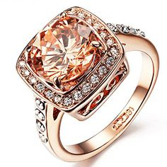 Yoursfs Diamante Women Rings for Wedding Champaign Austrian Crystal Dress Jewellery for Lady 18ct Rose Gold Plated Rings Gilr's Xmas Present. UK rings. It's an Amazon affiliate link.