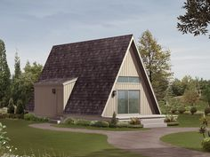 Cozy 20' x 36' A-frame cottage plan perfect for that vacation getaway in a rustic setting