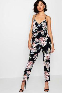 933ec1f31c Boohoo Fiona Floral Print Cami Wrap Strappy Jumpsuit Black Size UK 8 DH180  QQ 05