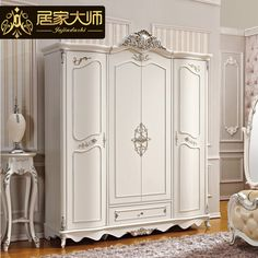 French style bedroom furniture wood combinations white wardrobe cabinet closet storage armoire W2 - http://furniturefromchina.net/?product=french-style-bedroom-furniture-wood-combinations-white-wardrobe-cabinet-closet-storage-armoire-w2
