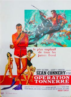 "Film posters for the James Bond 007 movie ""Thunderball"" starring Sean Connery. James Bond Movie Posters, James Bond Movies, Film Posters, Vintage Movies, Vintage Posters, Vintage Art, Sean Connery James Bond, Film Gif, Bond Series"