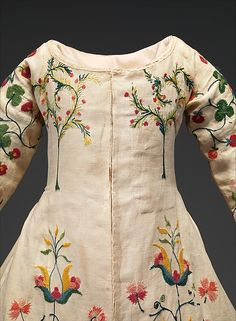 Detail on Linen and wool embroidered dress, mid-18th century.