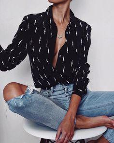 Equipment x Kate Moss silk shirt black and white pattern - denim - style - love