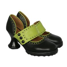 Raspberry Heels: Fluevog | Minis | Zaza [Black + Green] size 8