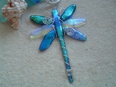 Dichroic Fused Glass Dragonfly.  via Etsy.