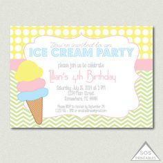 Hey, I found this really awesome Etsy listing at https://www.etsy.com/listing/191635307/ice-cream-party-invitation-ice-cream