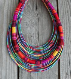 Hippie Summer yarn-wrapped necklace  / tribal / by MARISCAPES