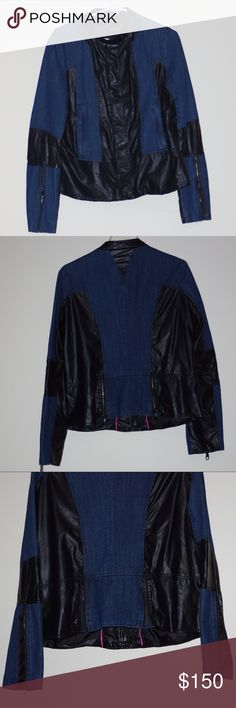 NWOT Steve Madden Bomber Denim Jean Jacket Size XL By Steve Madden Tag Size XL Trendy stylized Bomber x Denim Jean Jacket Denim with Faux Leather Accents Featuring Zip and Snap front closure Zip Sleeves Zip Back gussets Zip pockets Fully lined Style no longer available Last one! NWOT- Unworn, no tags or packaging included Steve Madden Jackets & Coats Jean Jackets