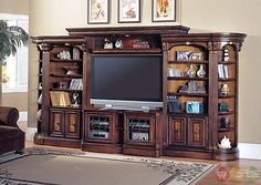 Huntington Traditional Wood Entertainment Center Wall Unit Expandable TV Console