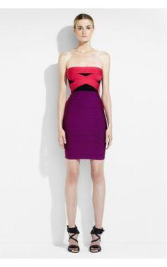 Herve Leger Strapless Color Blocked Bandage Dress