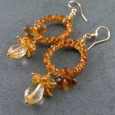 Madeira Citrine earrings handmade14k gold by envydesignsjewelry, $150.00