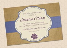 Customizable Burlap Party Invitation by HoneybeeLaneDesigns, $15.00