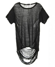 Black Punk Style T-shirt with Semi-sheer Asymmetric Rip Back