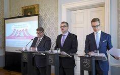 Timo Soini (ps.), Juha Sipilä (kesk.) ja Alexander Stubb (kok.) kertovat parhaillaan hallitusohjelman sisällöstä tiedotustilaisuudessa.