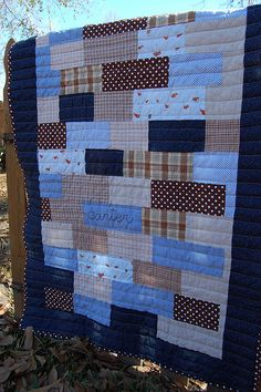 cute, easy boy quilt#Repin By:Pinterest++ for iPad# - love the straight line quilting