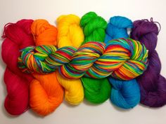 Rainbow Palette - hand dyed sock yarn, red, orange, yellow, green, blue, purple, self-striping