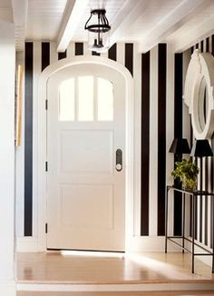 Black & White Stripes door way. Arched doorway. gorgeous! #thelittlemrs