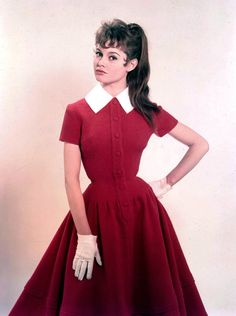 Brigitte Bardot 1950s red day dress white tab collar full skirt short sleeves prim school girl librarian office wasp waist button front