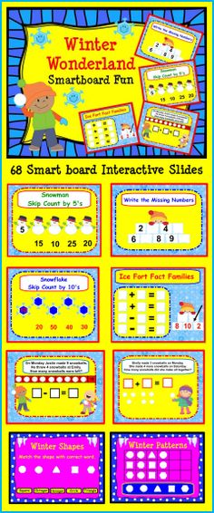 Winter Wonderland Smart board Fun:  Kinder and First.  There are 68 Interactive Slides.