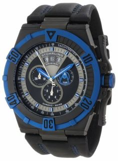 Stuhrling Original Men's 220XL.332L552 Aviator Falcon Blazer Swiss Quartz Multi Function Blue Watch Stuhrling Original. Save 80 Off!. $197.00. Black matte finish inner dial with blue hands and chronograph subdials. Black pvd case and blue ip unidirectional ratcheting bezel with engraved arabic numerals and protective krysterna crystal. Water-resistant to 100 M (330 feet). Black genuine leather strap with blue contrast double stitching. Grey flange with date wheel aperture and minutes t...