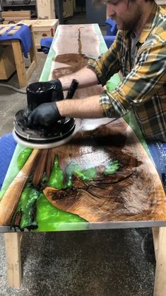 "Get Instant Access To Dozens New Cool FREE Woodworking Plans at our website above ( if you use your phone just click ""Visit"") Diy Resin Table, Epoxy Wood Table, Epoxy Resin Table, Diy Resin Art, Diy Resin Crafts, Wood Crafts, Diy Furniture Videos, Resin Furniture, Easy Woodworking Projects"