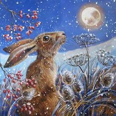Judith Yates' beautifully-illustrated hare forages in a moonlit field. 12 x Message inside reads: Wishing you a merry Christmas. Rabbit Crafts, Rabbit Art, Painting Snow, Stone Painting, Rabbit Pictures, Bunny Art, Watercolor Artwork, Woodland Creatures, Wildlife Art