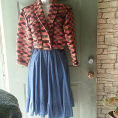 Denim full dance skirt, all cotton, ruffle at base Clydes all cotton full skirt. Small hip pockets. Clydes  Skirts