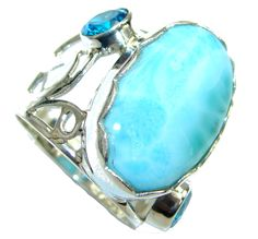 $62.95 Beautiful Style! AAA Blue Larimar Sterling Silver Ring s. 8 1/4 at www.SilverRushStyle.com #ring #handmade #jewelry #silver #larimar