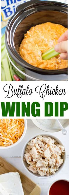Whip up this easy Chicken Wing Dip with just 5 ingredients for your next party or game day. Stove top and slow cooker methods.
