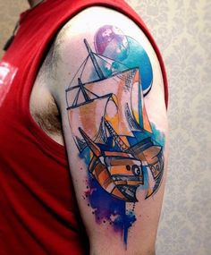 Watercolor boat tattoo - 100 Boat Tattoo Designs <3 <3