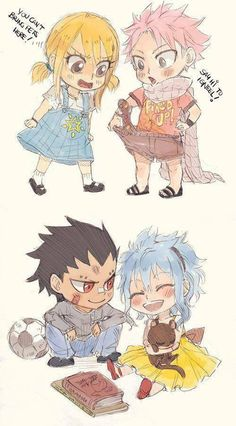 Fairy Tail Chibi Lucy, Natsu, Gajeel, and Levy Rog Fairy Tail, Fairy Tail Fotos, Fairy Tail Amour, Fairy Tail Funny, Fairy Tail Love, Fairy Tail Art, Fairy Tail Guild, Fairy Tail Ships, Manga Anime