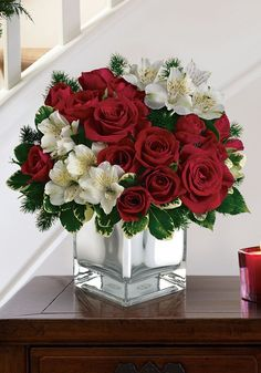 Order Teleflora's Christmas Blush Bouquet from Exotic Flowers, your local Boston florist. Send Teleflora's Christmas Blush Bouquet Faith Hill - Christmas Blush for fresh and fast flower delivery throughout Boston, MA area. Christmas Flower Arrangements, Christmas Flowers, Christmas Centerpieces, Floral Centerpieces, Christmas Decorations, White Christmas, Modern Christmas, Centrepieces, Christmas Holiday