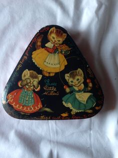 Rare Vintage Triangular Candy Tin Three Little Kittens by George Horner