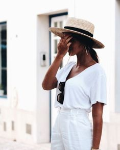 Classic all white outfit with accessories to add some accents.