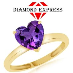 """1.71 Ct Heart Shape Purple Amethyst Solitaire Ring 14K Gold """""""". Starting at $89"""