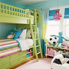 Love this bunk bed!  My girls look great in green.