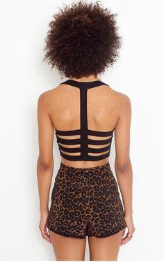 strappy back, leopard shorts