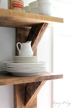 Reclaimed wood cafe style kitchen shelves, knives, and Wood Cafe, Reclaimed Wood Kitchen, Reclaimed Wood Shelves, Rustic Kitchen, Kitchen White, Repurposed Wood, White Kitchens, Salvaged Wood, Wooden Kitchen