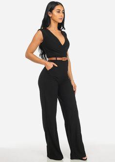 Black Sleeveless V-Neck Wide Leg Jumpsuit w/ Belt Included